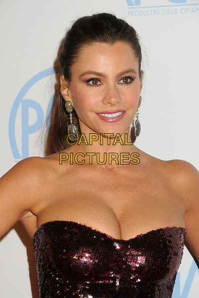Sofia Vergara.23rd Annual Producers Guild Awards held at the Beverly Hilton Hotel, - Beverly Hills, California, USA, .21st January 2012..portrait headshot earrings dangly  hair up beauty ponytail  black red maroon sequined sequin strapless cleavage .CAP/ADM/BP.©Byron Purvis/AdMedia/Capital Pictures.