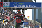 Greg Van Avermaet (BEL) BMC Racing crosses the line to win in the old Velodrome in Roubaix at the end of the 115th edition of the Paris-Roubaix 2017 race running 257km Compiegne to Roubaix, France. 9th April 2017.<br /> Picture: ASO/P.Ballet | Cyclefile<br /> <br /> <br /> All photos usage must carry mandatory copyright credit (&copy; Cyclefile | ASO/P.Ballet)