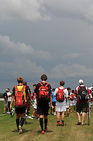 Players seek shelter during a weather delay during day one of the US Soccer Development Academy  Spring Showcase in Sarasota, FL, on May 22, 2009.