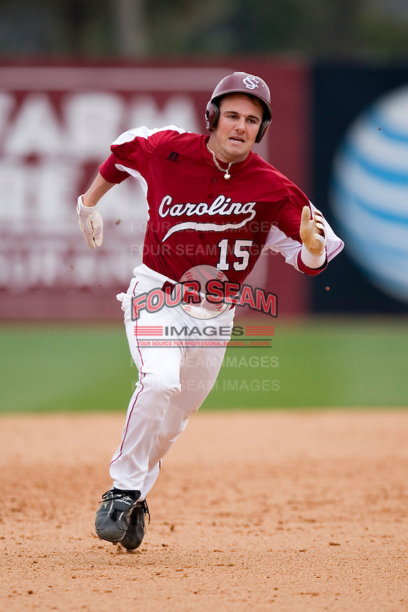 Harley Lail (15) of the South Carolina Gamecocks hustles into third base with a triple versus the East Carolina Pirates at Sarge Frye Field in Columbia, SC, Sunday, February 24, 2008.