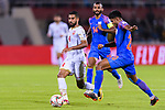 Sayed Dhiya Saeed of Bahrain (L) fights for the ball with Salam Ranjan Singh of India (R) during the AFC Asian Cup UAE 2019 Group A match between India (IND) and Bahrain (BHR) at Sharjah Stadium on 14 January 2019 in Sharjah, United Arab Emirates. Photo by Marcio Rodrigo Machado / Power Sport Images