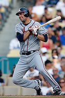 Jeff Francoeur of the Atlanta Braves during a game from the 2007 season at Dodger Stadium in Los Angeles, California. (Larry Goren/Four Seam Images)