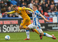 Preston North End's Aidan McGeady vies for possession with Huddersfield Town's Jonathan Hogg<br /> <br /> Photographer Alex Dodd/CameraSport<br /> <br /> The EFL Sky Bet Championship - Huddersfield Town v Preston North End - Friday 14th April 2016 - The John Smith's Stadium - Huddersfield<br /> <br /> World Copyright &copy; 2017 CameraSport. All rights reserved. 43 Linden Ave. Countesthorpe. Leicester. England. LE8 5PG - Tel: +44 (0) 116 277 4147 - admin@camerasport.com - www.camerasport.com
