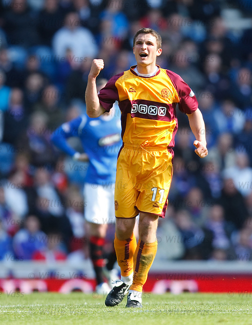John Sutton celebrates his volley goal for Motherwell