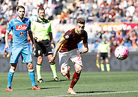 Calcio, Serie A: Roma vs Napoli. Roma, stadio Olimpico, 25 aprile 2016.<br /> Roma&rsquo;s Stephan El Shaarawy, center, run for the ball during the Italian Serie A football match between Roma and Napoli at Rome's Olympic stadium, 25 April 2016. <br /> UPDATE IMAGES PRESS/Isabella Bonotto