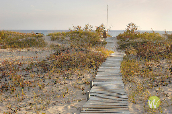 P.H. Hoeft State Park, Forty Mile Point, Lake Huron beach. Wooden walkway to beach.