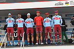 Team Katusha Alpecin at sign on before the start of Stage 4 of the Tour of the Basque Country 2019 running 163.6km from Vitoria-Gasteiz to Arrigorriaga, Spain. 11th April 2019.<br /> Picture: Colin Flockton | Cyclefile<br /> <br /> <br /> All photos usage must carry mandatory copyright credit (&copy; Cyclefile | Colin Flockton)