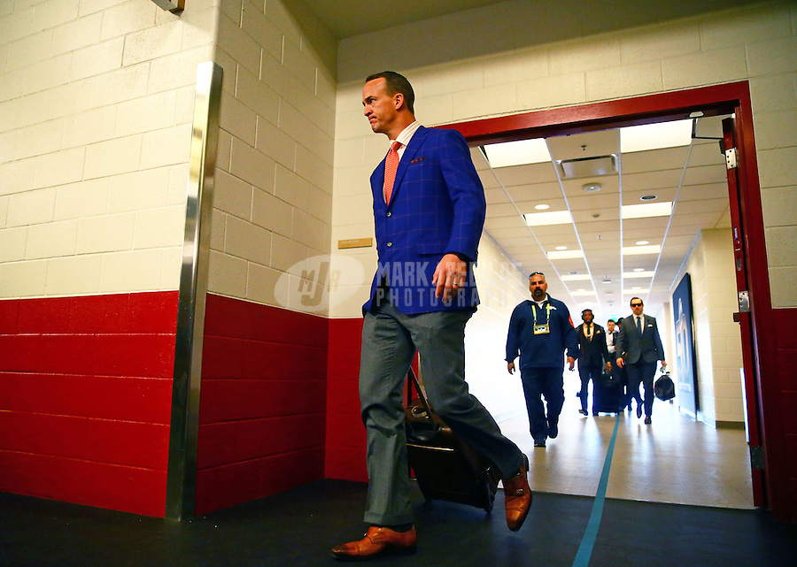 Feb 7, 2016; Santa Clara, CA, USA; Denver Broncos quarterback Peyton Manning arrives before Super Bowl 50 against the Carolina Panthers at Levi's Stadium. Mandatory Credit: Mark J. Rebilas-USA TODAY Sports