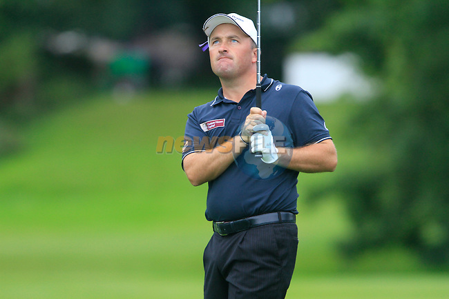 Damien McGrane watches his 2nd shot on the 14th hole during Day 2 of the 3 Irish Open at the Killarney Golf & Fishing Club, 30th July 2010..(Picture Eoin Clarke/www.golffile.ie)