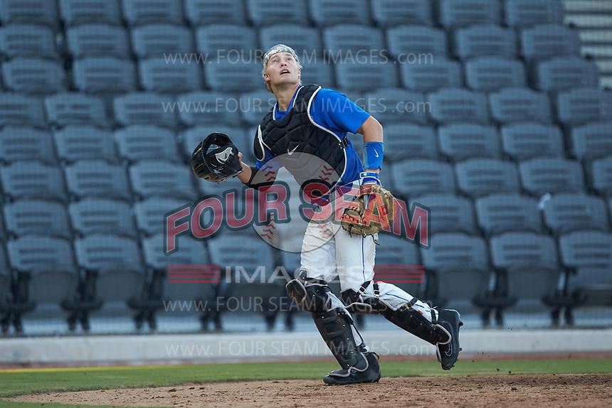 Duke Blue Devils catcher Rudy Maxwell (26) on defense against the Coastal Carolina Chanticleers at Segra Stadium on November 2, 2019 in Fayetteville, North Carolina. (Brian Westerholt/Four Seam Images)
