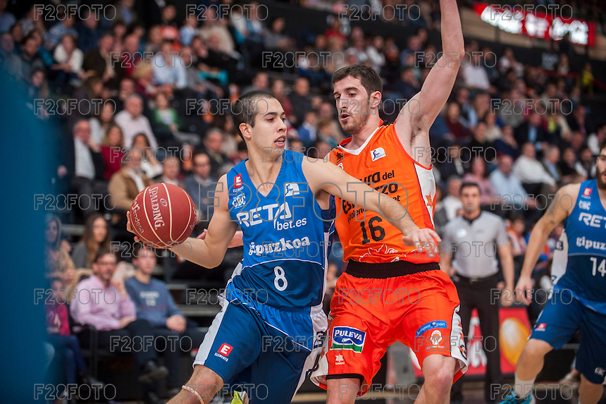 VALENCIA, SPAIN - NOVEMBER 22:  Guillem Vives, Andres Rico during Endesa League match between Valencia Basket Club and Retabet.es GBC at Fonteta Stadium on November 22, 2015 in Valencia, Spain