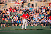 Cody Daily (31) of the Kannapolis Intimidators coaches first base during the game against the Hagerstown Suns at Kannapolis Intimidators Stadium on July 4, 2016 in Kannapolis, North Carolina.  The Intimidators defeated the Suns 8-2.  (Brian Westerholt/Four Seam Images)