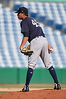New York Yankees pitcher Miguel Yajure (45) looks in for the sign during a Florida Instructional League game against the Philadelphia Phillies on October 12, 2018 at Spectrum Field in Clearwater, Florida.  (Mike Janes/Four Seam Images)