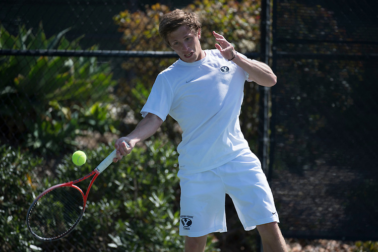 April 27, 2013; San Diego, CA, USA; BYU Cougars player Spencer Smith during the WCC Tennis Championships at Barnes Tennis Center.