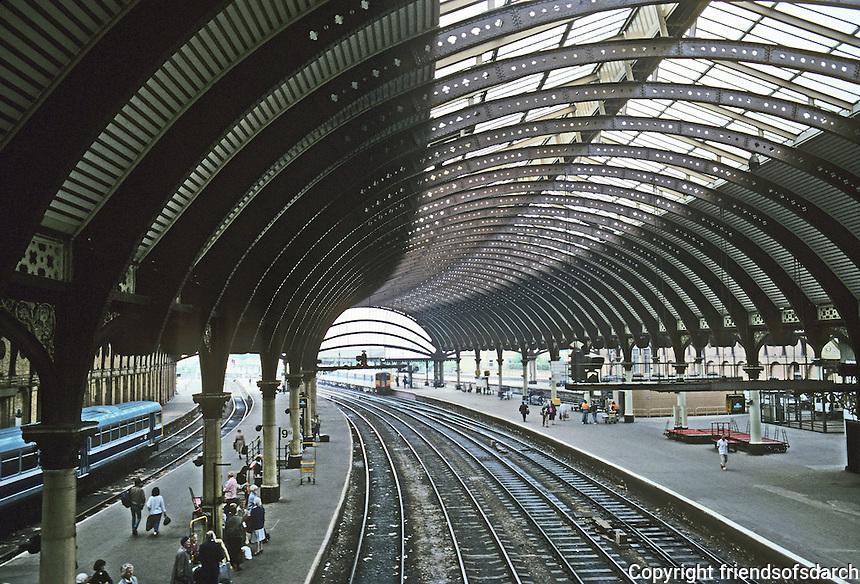 York: York Station, 1878. Thomas Prosser. 13 platforms, glazed arched roof. Photo '87.