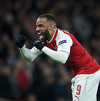 Alexandre Lacazette of Arsenal celebrates his goal during the UEFA Europa League QF 1st leg match between Arsenal and CSKA Moscow  at the Emirates Stadium, London, England on 5 April 2018. Photo by Andrew Aleksiejczuk / PRiME Media Images.