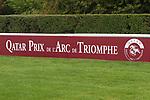 October 07, 2018, Longchamp, FRANCE - Logo of the Prix de l'Arc de Triomphe at ParisLongchamp Race Course  [Copyright (c) Sandra Scherning/Eclipse Sportswire)]