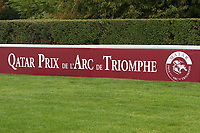 October 07, 2018, Longchamp, FRANCE - Logo of the Prix de l'Arc de Triomphe at ParisLongchamp Race Course  [Copyright (c) Sandra Scherning/Eclipse Sportswire)]