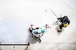 Medical Kings Goalie #1 Raymond Loo (l) makes a save on Verity Forward #2 Lokel Wong (r) during the Principal Standard League match between Medical Winner Kings vs Verity at the Mega Ice on 17 January 2017 in Hong Kong, China. Photo by Marcio Rodrigo Machado / Power Sport Images
