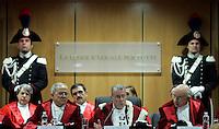 Il Presidente della Corte d'Appello di Roma Giorgio Santacroce, al centro, pronuncia l suo discorso durante la cerimonia di inaugurazione dell'Anno Giudiziario a Roma, 30 gennaio 2010..Rome's Court of Appeal President Giorgio Santacroce, center, delivers his speech during the inauguration ceremony of the Judicial Year in Rome, 30 january 2010..UPDATE IMAGES PRESS/Riccardo De Luca
