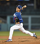 Kenta Maeda (Dodgers),<br /> APRIL 1, 2016 - MLB :<br /> Kenta Maeda of the Los Angeles Dodgers pitches during a spring training baseball game against the Los Angeles Angels at Dodger Stadium in Los Angeles, California, United States. (Photo by AFLO)