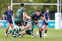 Dave Sisi of London Scottish on the ball during the Greene King IPA Championship match between London Scottish Football Club and Nottingham Rugby at Richmond Athletic Ground, Richmond, United Kingdom on 15 April 2017. Photo by David Horn.