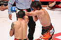 (L to R)  Hugo Cazares (Mex),  Tomonobu Shimizu (JPN), AUGUST 31, 2011 - Boxing : Tomonobu Shimizu of Japan in action against Hugo Cazares of Mexico during the WBA Super fly weight title bout at Nippon Budokan, Tokyo, Japan. Tomonobu Shimizu of Japan won the fight on points after twelve rounds. (Photo by Yusuke Nakanishi/AFLO SPORT) [1090]