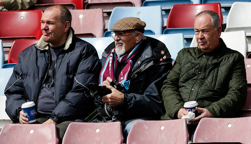 Burnley fans before kick off<br /> <br /> Photographer Craig Mercer/CameraSport<br /> <br /> Football - Barclays Premiership - West Ham United v Burnley - Saturday 2nd May 2015 - Boleyn Ground - London<br /> <br /> &copy; CameraSport - 43 Linden Ave. Countesthorpe. Leicester. England. LE8 5PG - Tel: +44 (0) 116 277 4147 - admin@camerasport.com - www.camerasport.com