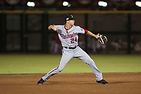 Salt River Rafters shortstop Carter Kieboom (24), of the Washington Nationals organization, throws to first base during an Arizona Fall League game against the Scottsdale Scorpions at Scottsdale Stadium on October 12, 2018 in Scottsdale, Arizona. Scottsdale defeated Salt River 6-2. (Zachary Lucy/Four Seam Images)
