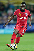 November 4th 2017, nib Stadium, Perth, Australia; A-League football, Perth Glory versus Adelaide United; Mark Ochieng from Adelaide United controls the ball through the middle during the second half