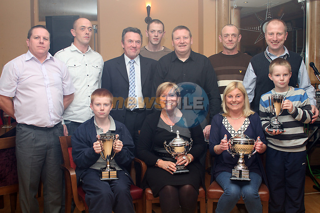 Paul Thornton, Gerard Cruise, Patrick Whelan, David Thornton, Eamonn Cruise, Brian Emmet, Brian Emmet, Marie Fox, Paula Emmett and Stephen Emmet at the Drogheda and District Racing Pigeon Club Function  in the Thatch...(Photo credit should read Jenny Matthews www.newsfile.ie)....This Picture has been sent you under the condtions enclosed by:.Newsfile Ltd..The Studio,.Millmount Abbey,.Drogheda,.Co Meath..Ireland..Tel: +353(0)41-9871240.Fax: +353(0)41-9871260.GSM: +353(0)86-2500958.email: pictures@newsfile.ie.www.newsfile.ie.