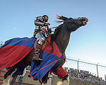 The Warren County Fair grandstand got very medieval July 27 when the nationally-known Knights of Valour performed a jousting tournament for a nearly packed house. The grandstand show began as the Knights were introduced to the crowd as the charged onto the field of battle.