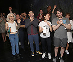 """Sophia Anne Caruso, Rob McClure, Leslie Kritzer  and Alex Brightman during the Broadway Opening Night Actors' Equity Legacy Robe Ceremony honoring Jill Abramovitz for """"Beetlejuice"""" at The Wintergarden on April 25, 2019  in New York City."""