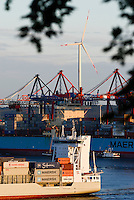 GERMANY Hamburg, Enercon and Nordex wind turbine in container harbour/ DEUTSCHLAND, Windkraftanlagen Enercon und Nordex im Hafen
