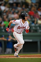 Left fielder Jordan Wren (5) of the Greenville Drive runs out a batted ball during a game against the Lexington Legends on Sunday, September 2, 2018, at Fluor Field at the West End in Greenville, South Carolina. Greenville won, 7-4. (Tom Priddy/Four Seam Images)
