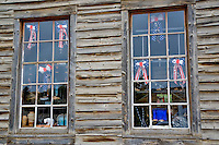 Old window of historic house. Virginia City, Montana