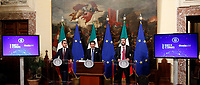Luigi Di Maio, Giuseppe Conte and Matteo Salvini <br /> Rome January 17th 2019. Press conference of  the Italian premier and of the two vice premiers just after the Minister cabinet approved the reform of job (citizenship income) and board.<br /> Foto Samantha Zucchi Insidefoto