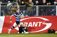 James Wilson of Bath Rugby goes on the attack. Aviva Premiership match, between Bath Rugby and Northampton Saints on February 9, 2018 at the Recreation Ground in Bath, England. Photo by: Patrick Khachfe / Onside Images