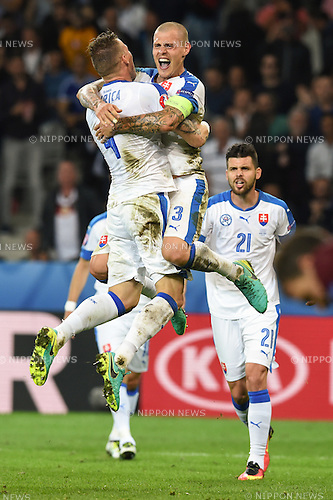 Jan Durica (Slovakia) Martin Skrtel (Slovakia) Michal Duris (Slovakia) ; <br /> June 15, 2016 - Football : Uefa Euro France 2016, Group B, Russia 1-2 Slovakia at Stade Pierre Mauroy, Lille Metropole, France. (Photo by aicfoto/AFLO)
