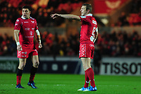 Hadleigh Parkes of Scarlets shouts instructions during the Heineken Champions Cup round 5 match between the Scarlets and Leicester Tigers at the Parc Y Scarlets Stadium in Llanelli, Wales, UK. Saturday 12th January 2019