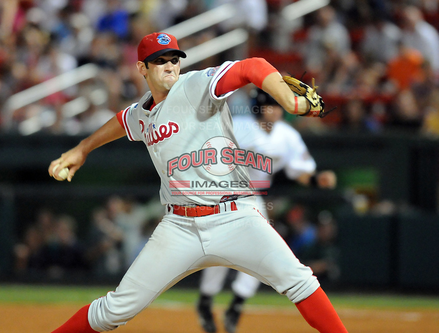 Pitcher Joshua Zeid (32) of the Lakewood BlueClaws at the 2010 South Atlantic League All-Star Game on Tuesday, June 22, 2010, at Fluor Field at the West End in Greenville, S.C. Photo by: Tom Priddy/Four Seam Images