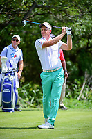 Luke Donald (GBR) watches his tee shot on 9 during round 1 of the Valero Texas Open, AT&amp;T Oaks Course, TPC San Antonio, San Antonio, Texas, USA. 4/20/2017.<br /> Picture: Golffile | Ken Murray<br /> <br /> <br /> All photo usage must carry mandatory copyright credit (&copy; Golffile | Ken Murray)