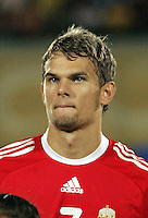 Hungary's Valdimir Koman (7)  stands on the field before the match against Italy during the FIFA Under 20 World Cup Quarter-final match at the Mubarak Stadium  in Suez, Egypt, on October 09, 2009. Hungary won 2-3 in overtime.