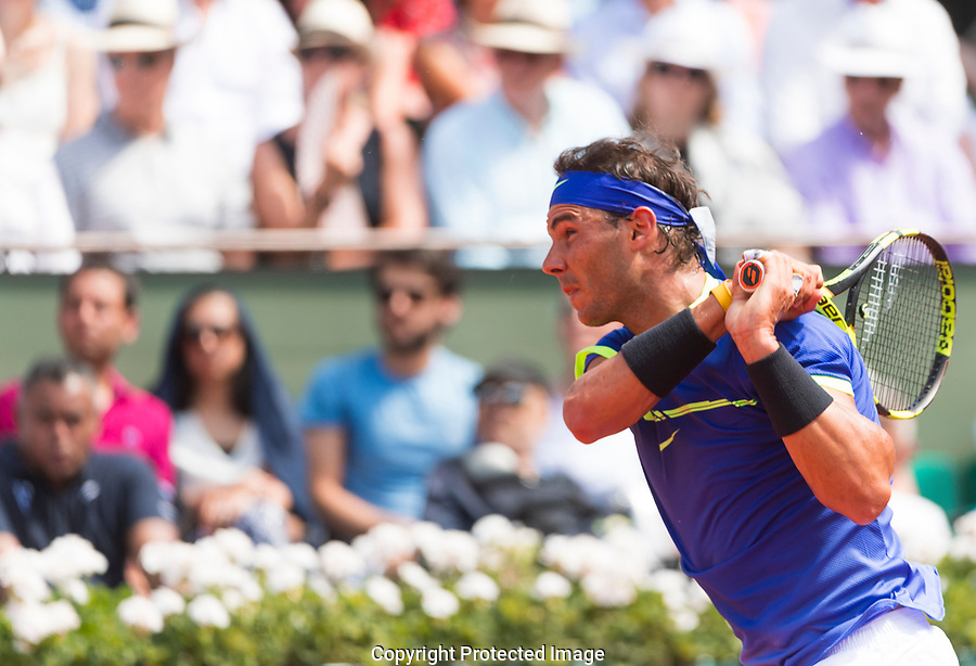 Rafael Nadal in action on Day fifteen of the French Open, Roland Garros, Paris, France, 11th June 2017