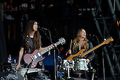 HAIM - Danielle and Este Haim - performing live on the Pyramid Stage on Day One at the 2013 Glastonbury Festival held at Pilton Farm Pilton Somerset UK - 28 Jun 2013.  Photo credit: George Chin/IconicPix