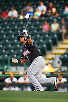 Jupiter Hammerheads second baseman Avery Romero (10) at bat during a game against Bradenton Marauders on August 4, 2015 at McKechnie Field in Bradenton, Florida.  Jupiter defeated Bradenton 9-3.  (Mike Janes/Four Seam Images)