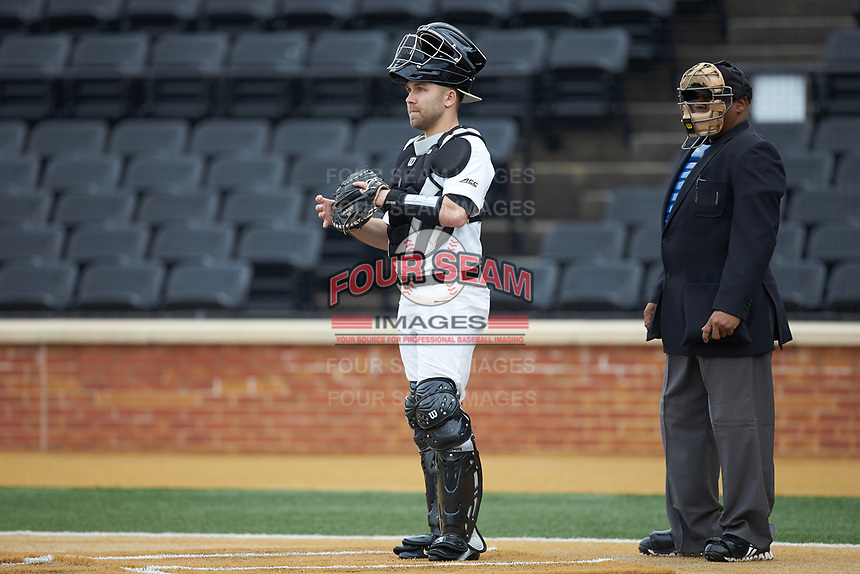 Wake Forest Demon Deacons catcher Logan Harvey (15) on defense against the Sacred Heart Pioneers at David F. Couch Ballpark on February 15, 2019 in  Winston-Salem, North Carolina.  The Demon Deacons defeated the Pioneers 14-1. (Brian Westerholt/Four Seam Images)