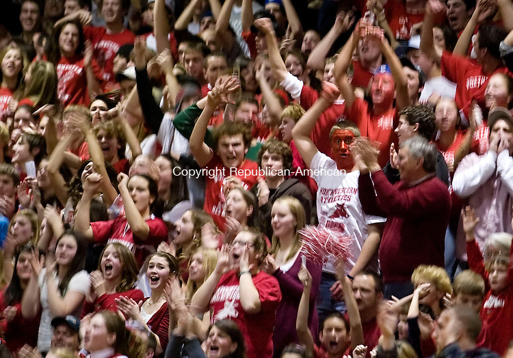 TORRINGTON--12 January 07--011208TJ10 - Northwestern fans celebrate a basket during The Gilbert School's 55-53 win against Northwestern Regional High School at Torrington High School on Saturday, January 12, 2008. (T.J. Kirkpatrick/Republican-American)