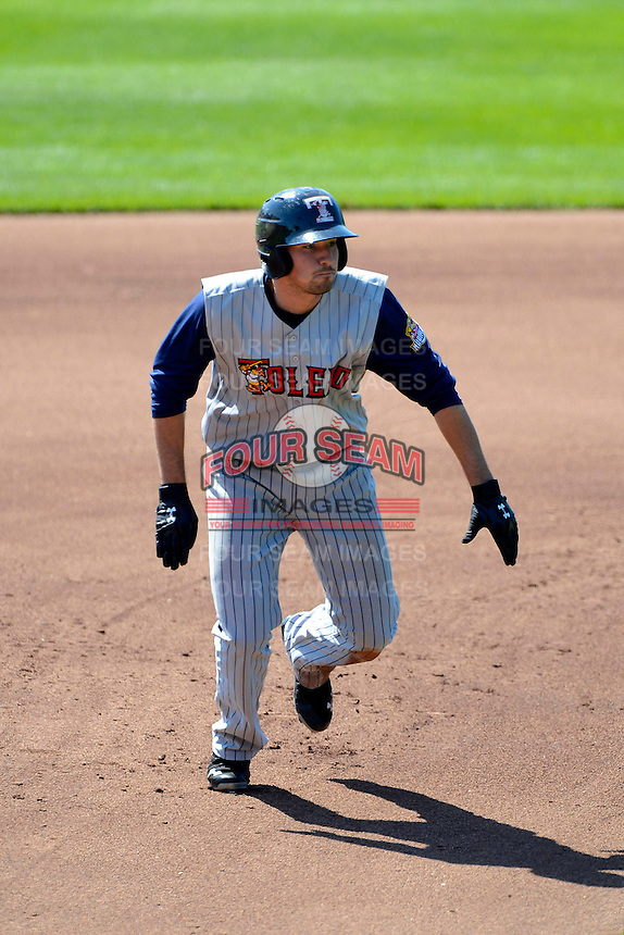 Toledo Mudhens outfielder Nick Castellanos #23 during a game against the Columbus Clippers on April 22, 2013 at Huntington Park in Columbus, Ohio.  Columbus defeated Toledo 3-0.  (Mike Janes/Four Seam Images)
