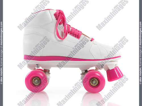 White with pink classic roller girl derby skate isolated on white background